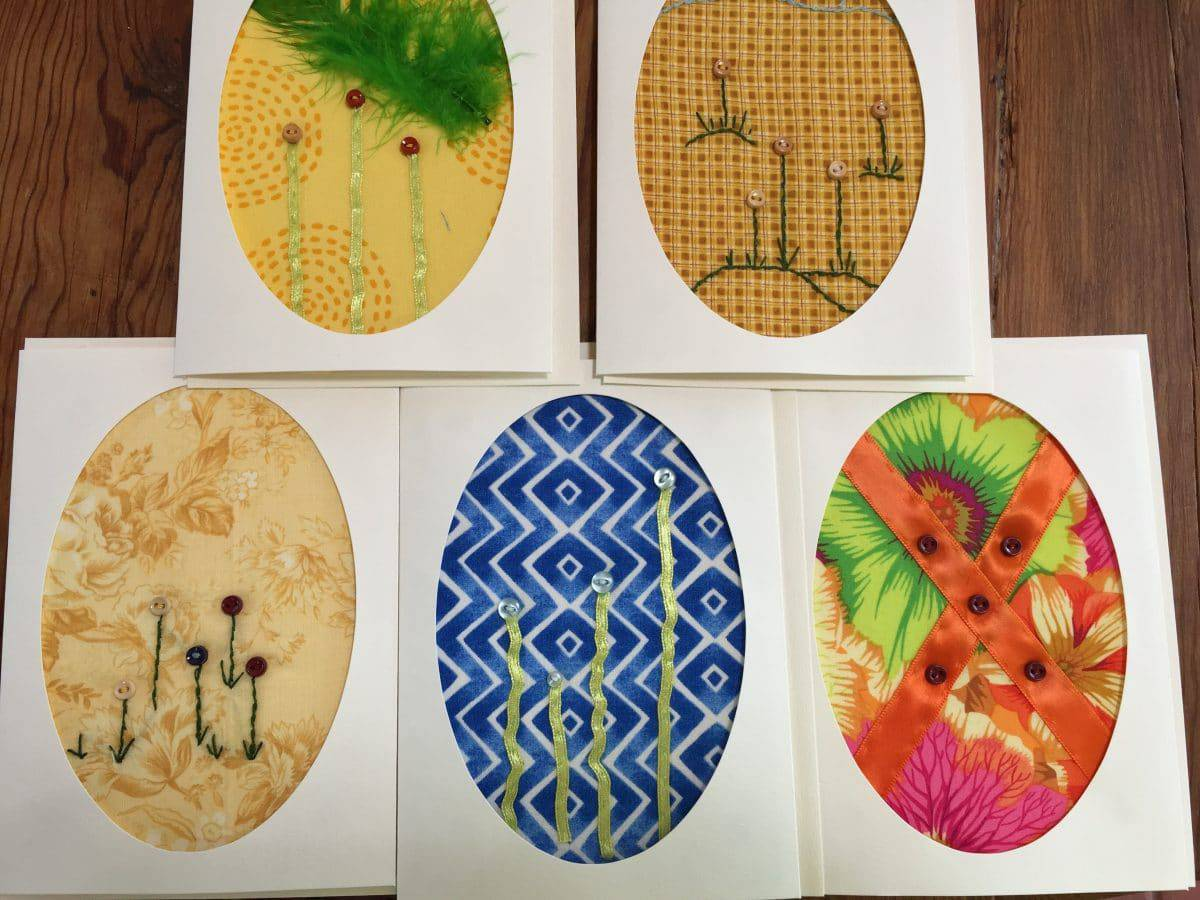 Five original greeting cards featuring fabrics, beads and threads from MaryEllenBeads.