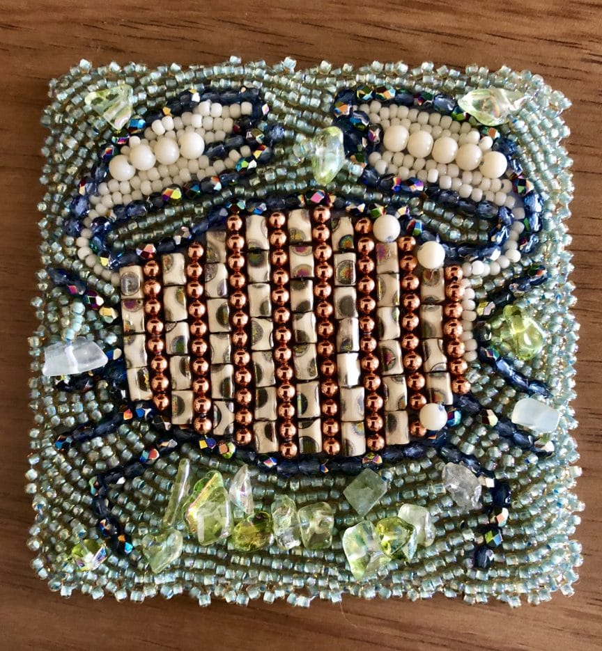 This beaded astrological sign is the crab representing Cancer from Mary Ellen Beads Albuquerque.