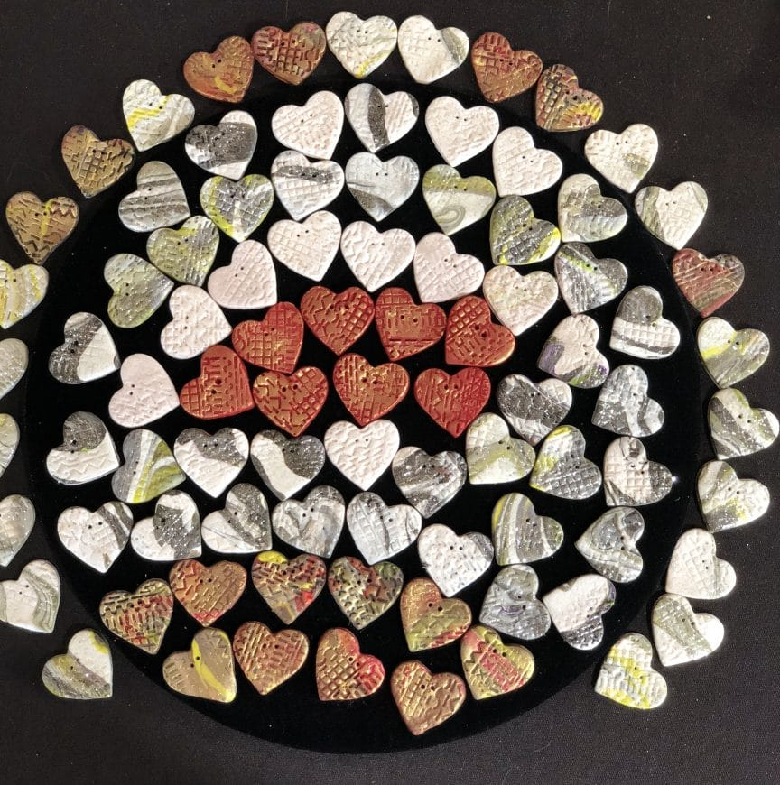 These are the hearts MaryEllenBeads Albuquerque created from another brand of clay after working with Michael's Craftsmart Clay.