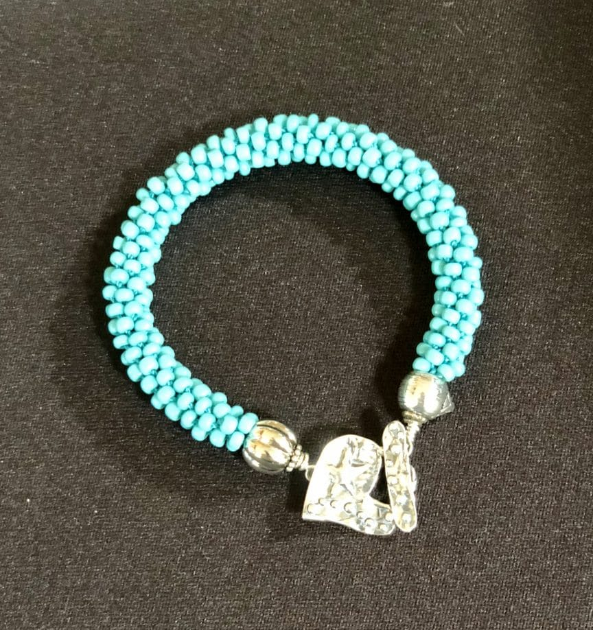 This bracelet with its heart clasp symbolizes a gratitude list from Mary Ellen Beads Albuquerque..