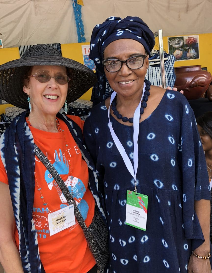 Mary Ellen Merrigan of Mary Ellen Beads Albuquerque is Artist Assistant to Aissata Namoko at the 2019 International Folk Art Market Santa Fe.