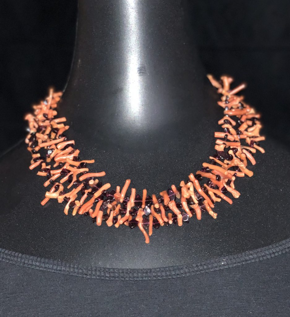 This multi-strand necklace of branch coral and garnet is part of the ABC for Beading by Mary Ellen Beads Albuquerque.
