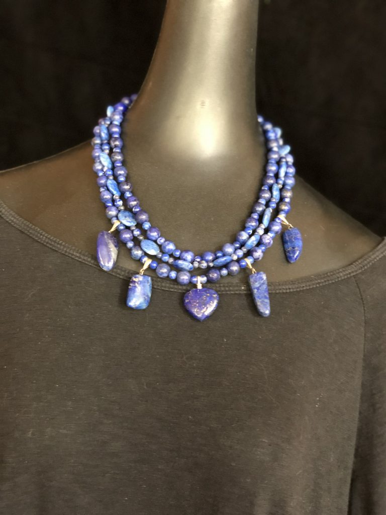 Mary Ellen Beads Albuquerque uses this three strand lapis lazuli necklace to discuss the ACB for Beading.