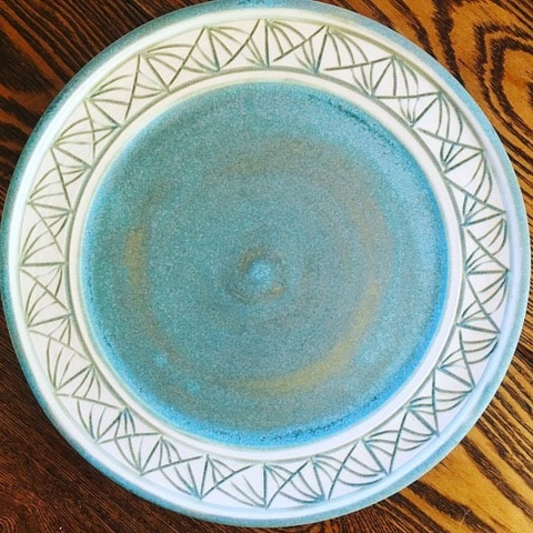 This pottery is by ceramic artist Laura McIndoo who talked with Mary Ellen Beads Albuquerque about creativity.